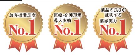お客様満足度No.1、医療・介護現場導入実績No.1、製品の良さが証明する業界実力No.1